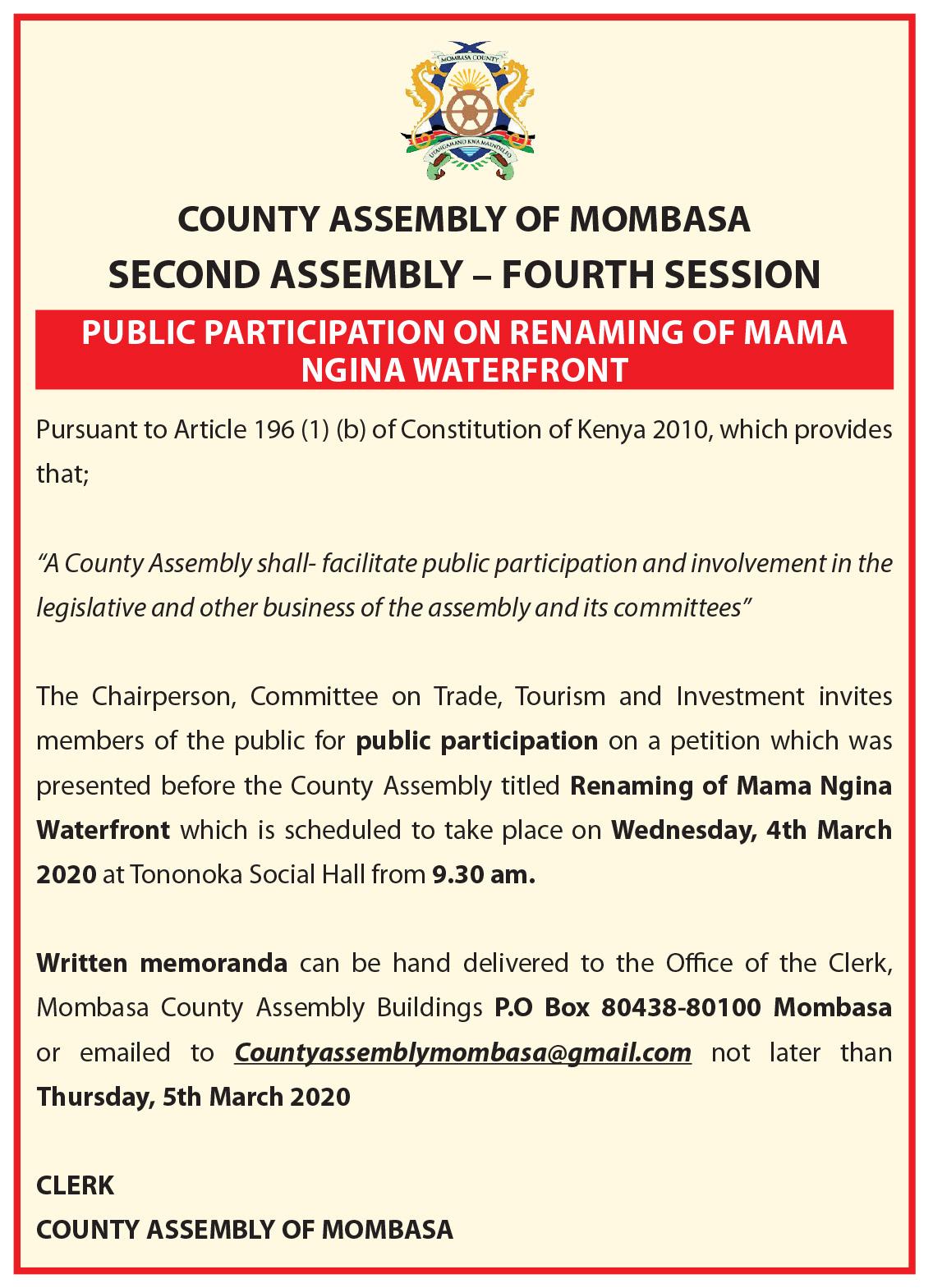 Mombasa County Assembly hearing on renaming Mombasa's waterfront park