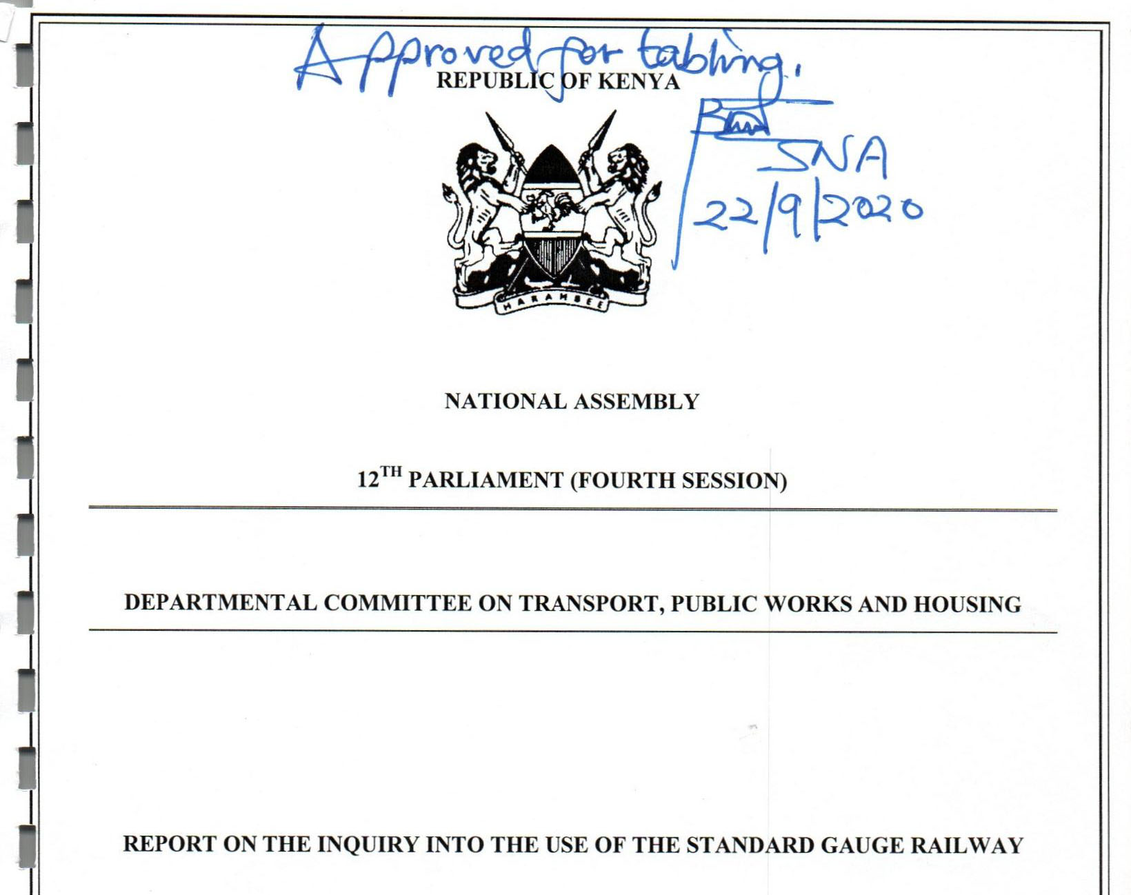 National Assembly committee report: 'don't force importers to use SGR'